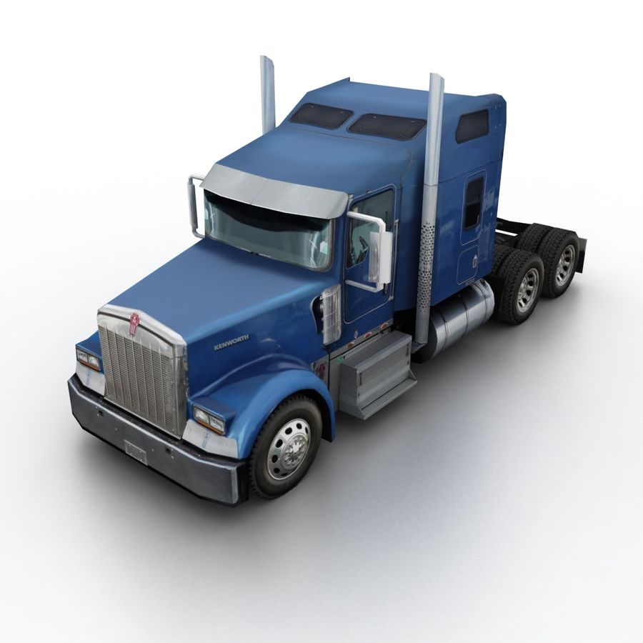 Kenworth W900 Flat Bed Loader royalty-free 3d model - Preview no. 8