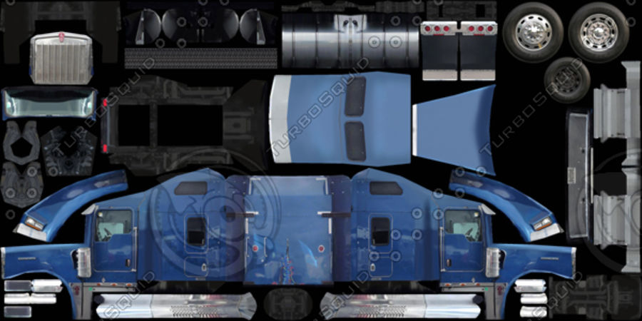 Kenworth W900 Flat Bed Loader royalty-free 3d model - Preview no. 17