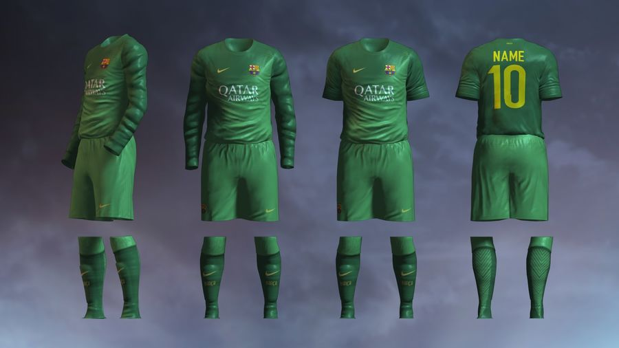 Barcelona FC 2014/2015 Jerseys royalty-free 3d model - Preview no. 5