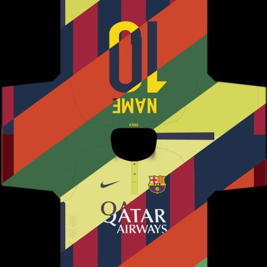 Barcelona FC 2014/2015 Jerseys royalty-free 3d model - Preview no. 7