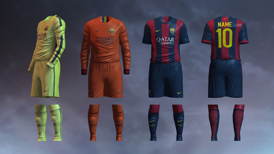 Barcelona FC 2014/2015 Jerseys royalty-free 3d model - Preview no. 1