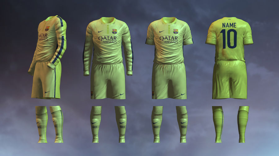 Barcelona FC 2014/2015 Jerseys royalty-free 3d model - Preview no. 4