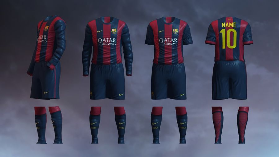 Barcelona FC 2014/2015 Jerseys royalty-free 3d model - Preview no. 2