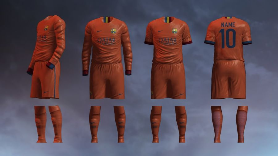 Barcelona FC 2014/2015 Jerseys royalty-free 3d model - Preview no. 3