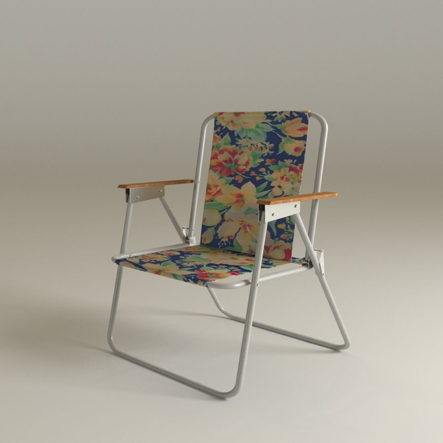 Camp chair royalty-free 3d model - Preview no. 8