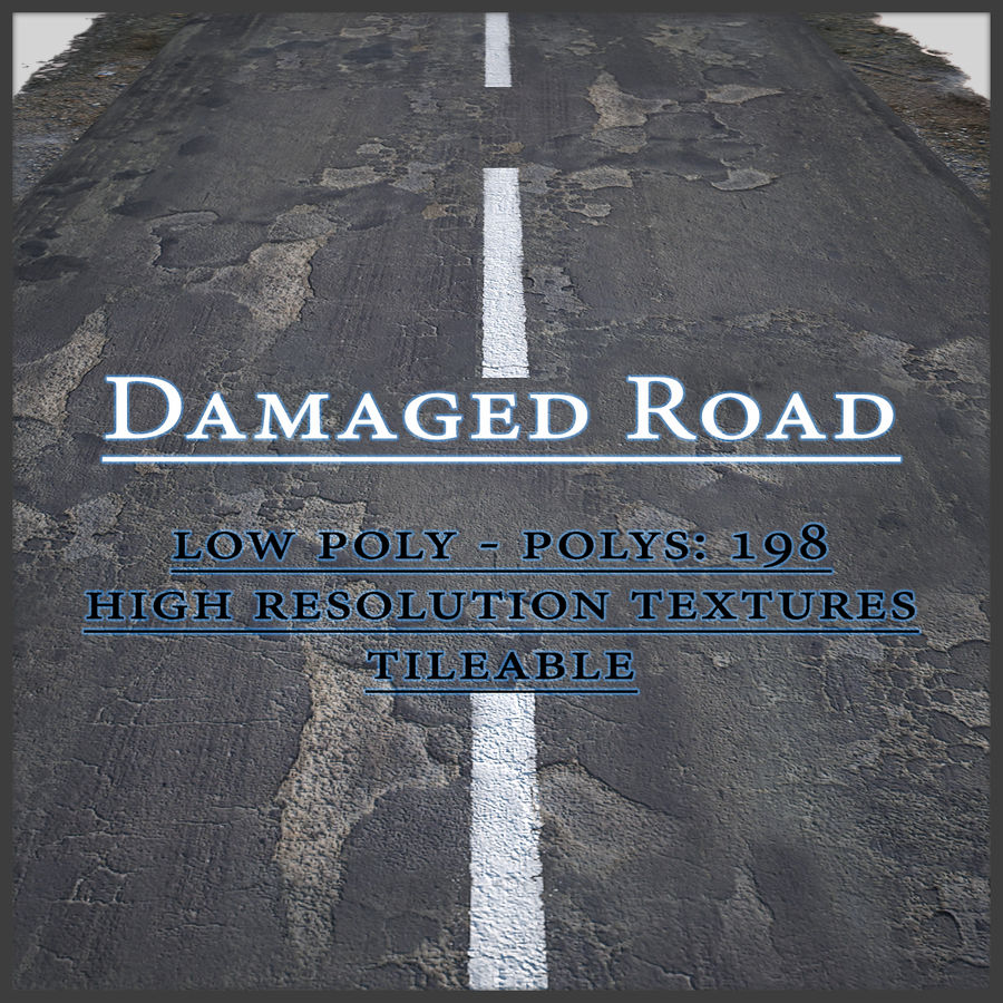 Damaged Road royalty-free 3d model - Preview no. 1