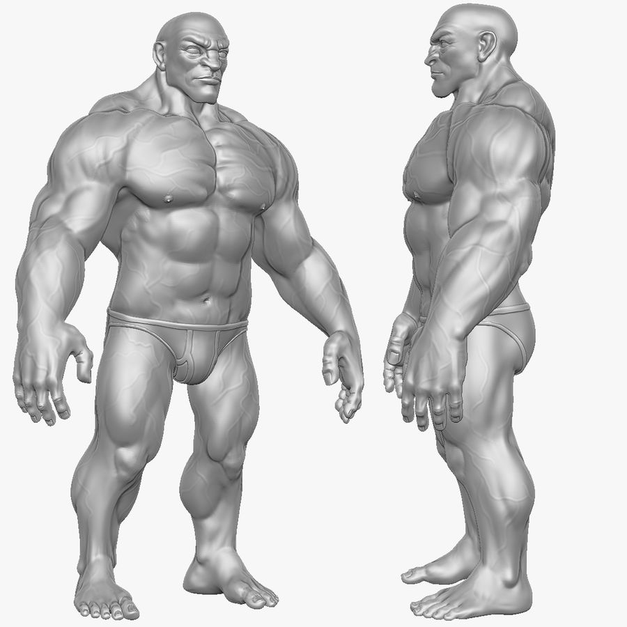 Muscular Man 2 Zbrush Sculpt  (UVed) royalty-free 3d model - Preview no. 24