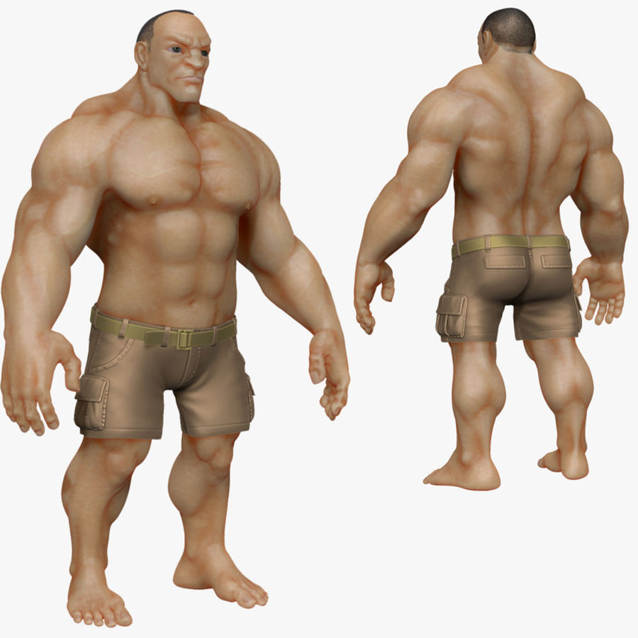 Muscular Man 2 Zbrush Sculpt  (UVed) royalty-free 3d model - Preview no. 1