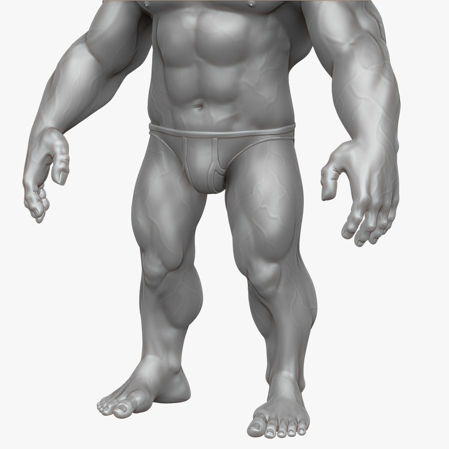 Muscular Man 2 Zbrush Sculpt  (UVed) royalty-free 3d model - Preview no. 20