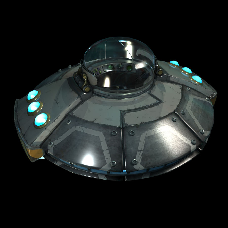 Cartoon UFO royalty-free 3d model - Preview no. 5