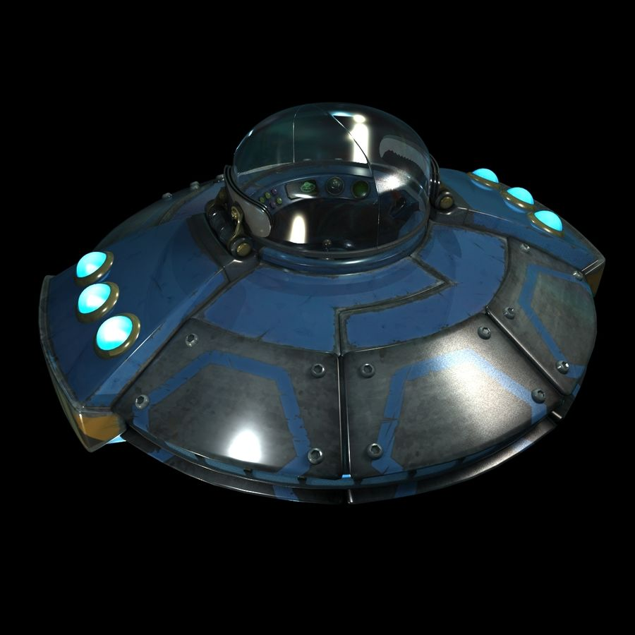 Cartoon UFO royalty-free 3d model - Preview no. 14