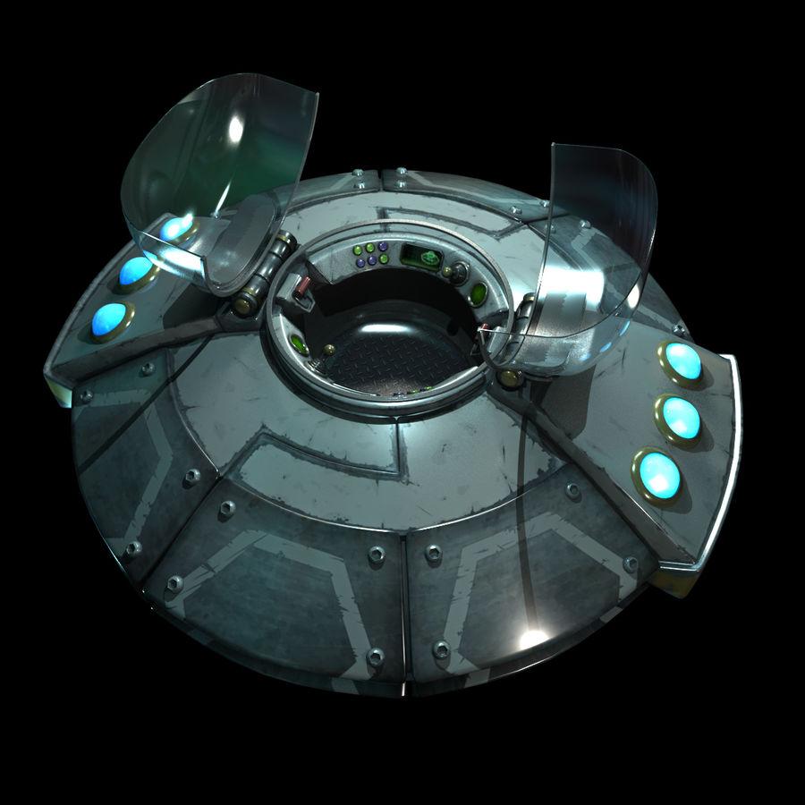 Cartoon UFO royalty-free 3d model - Preview no. 7