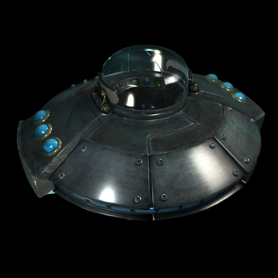 Cartoon UFO royalty-free 3d model - Preview no. 16