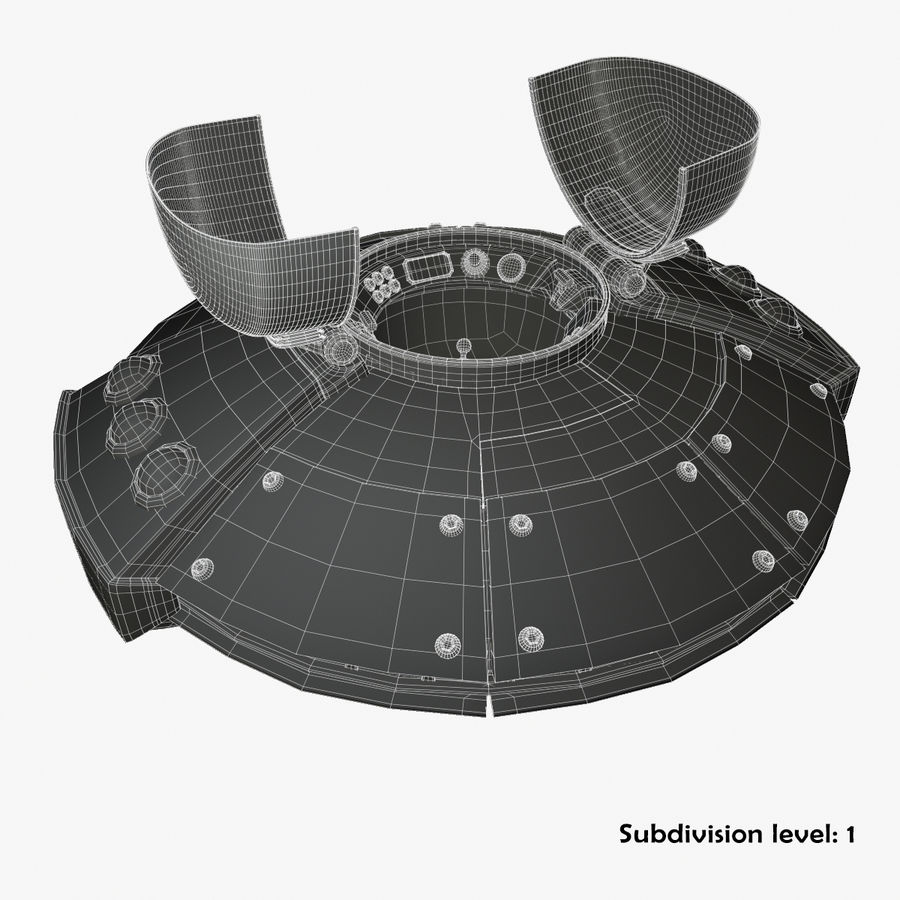 Cartoon UFO royalty-free 3d model - Preview no. 19