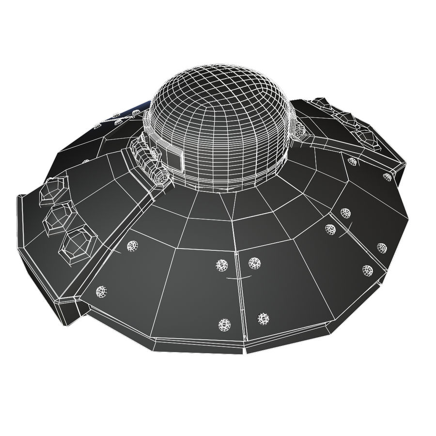 Cartoon UFO royalty-free 3d model - Preview no. 6
