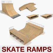 Skate Ramp Half Pipe Fun Box Skateboarding Element Collection A 3d model