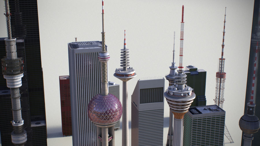 Skyscrapers and Towers royalty-free 3d model - Preview no. 5
