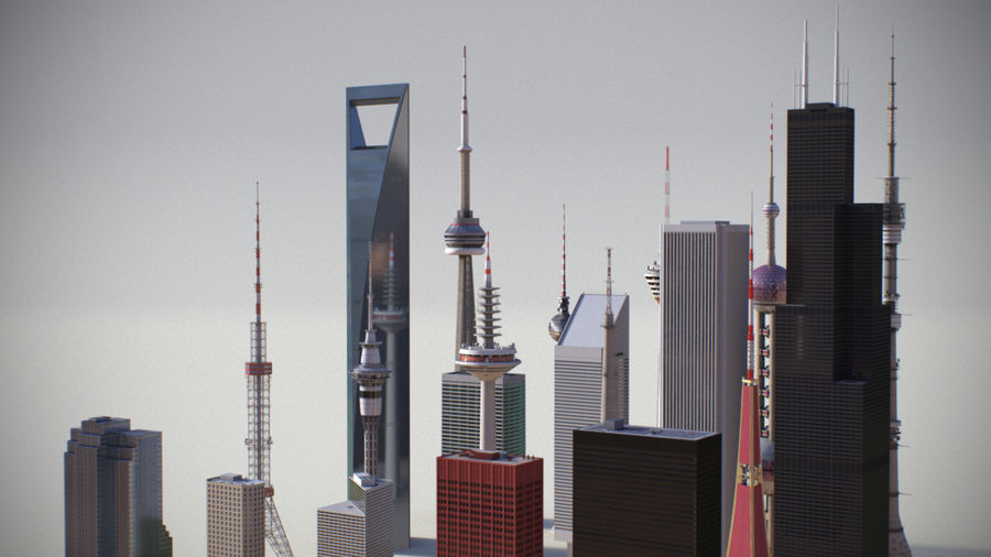 Skyscrapers and Towers royalty-free 3d model - Preview no. 4