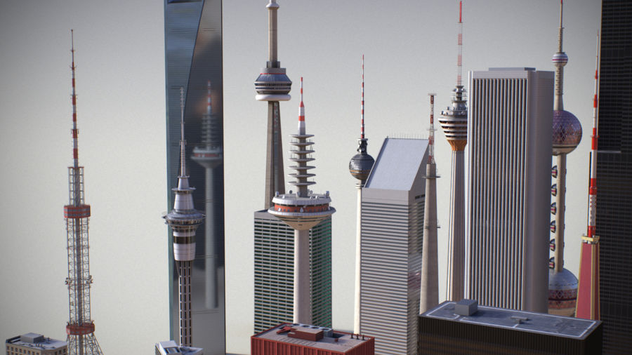 Skyscrapers and Towers royalty-free 3d model - Preview no. 8