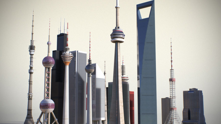 Skyscrapers and Towers royalty-free 3d model - Preview no. 6