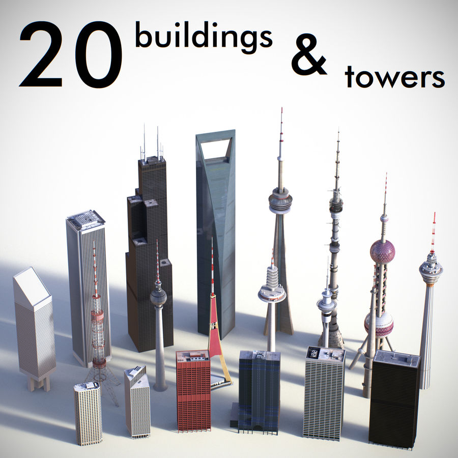 Skyscrapers and Towers royalty-free 3d model - Preview no. 1