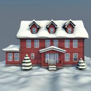 winter house red 3d model
