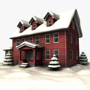 Winterhaus rot 3d model