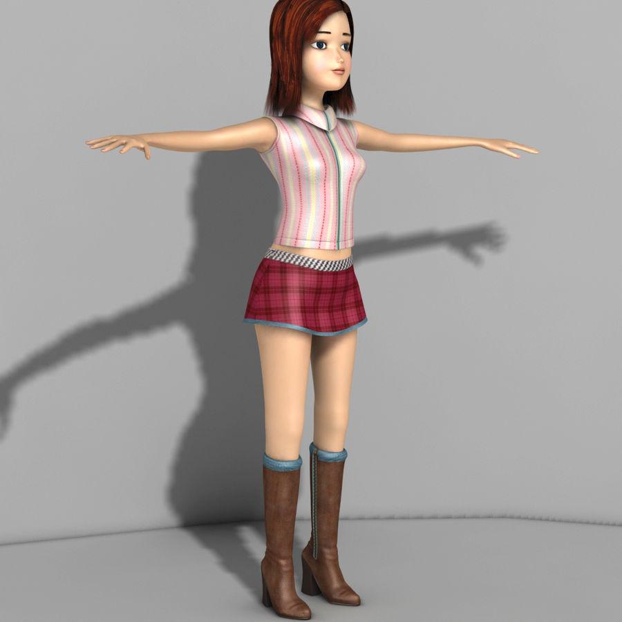 cartoon girl royalty-free 3d model - Preview no. 5
