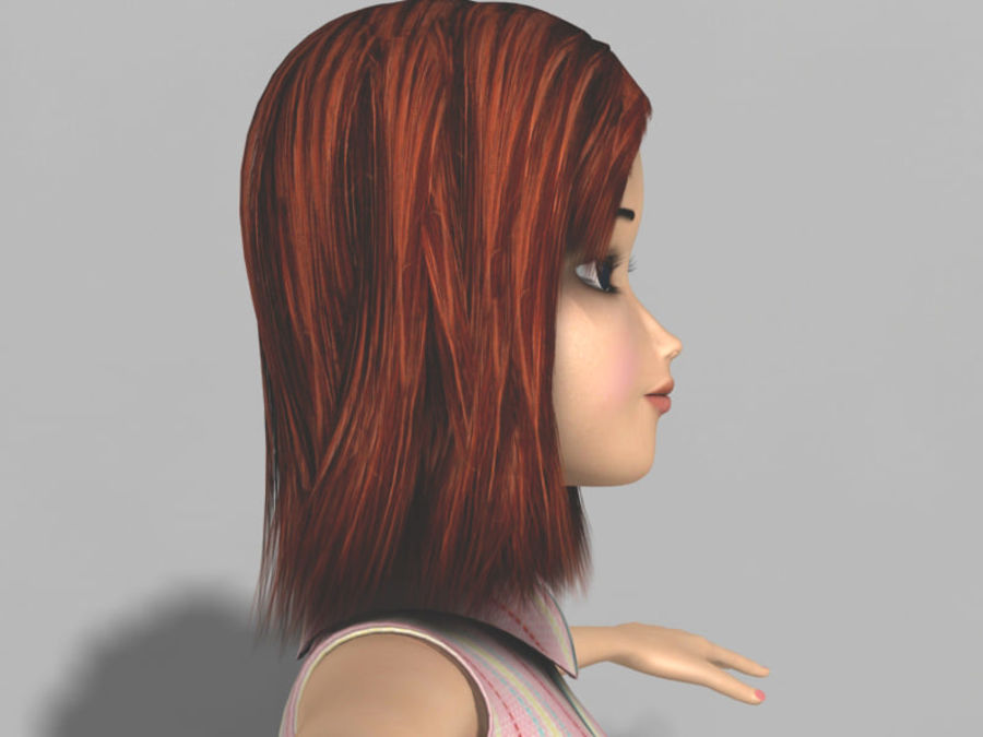 cartoon girl royalty-free 3d model - Preview no. 3