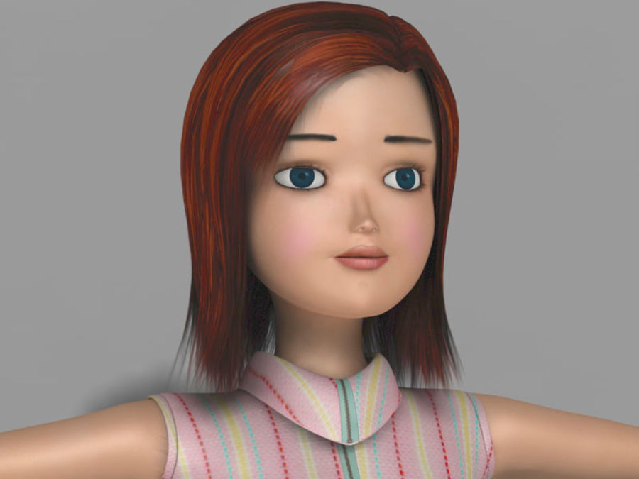 cartoon girl royalty-free 3d model - Preview no. 1