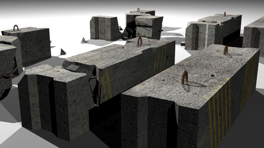 Concrete block royalty-free 3d model - Preview no. 7