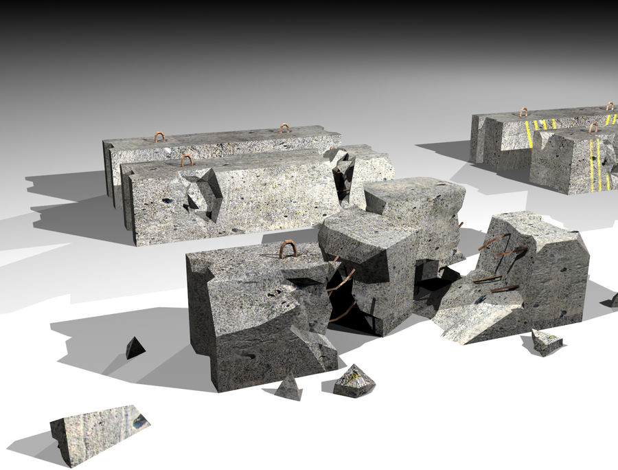 Concrete block royalty-free 3d model - Preview no. 1