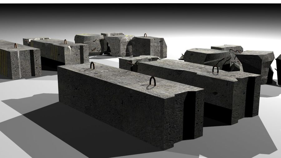Concrete block royalty-free 3d model - Preview no. 2