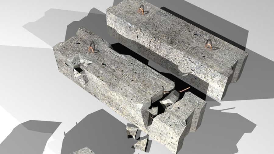 Concrete block royalty-free 3d model - Preview no. 6