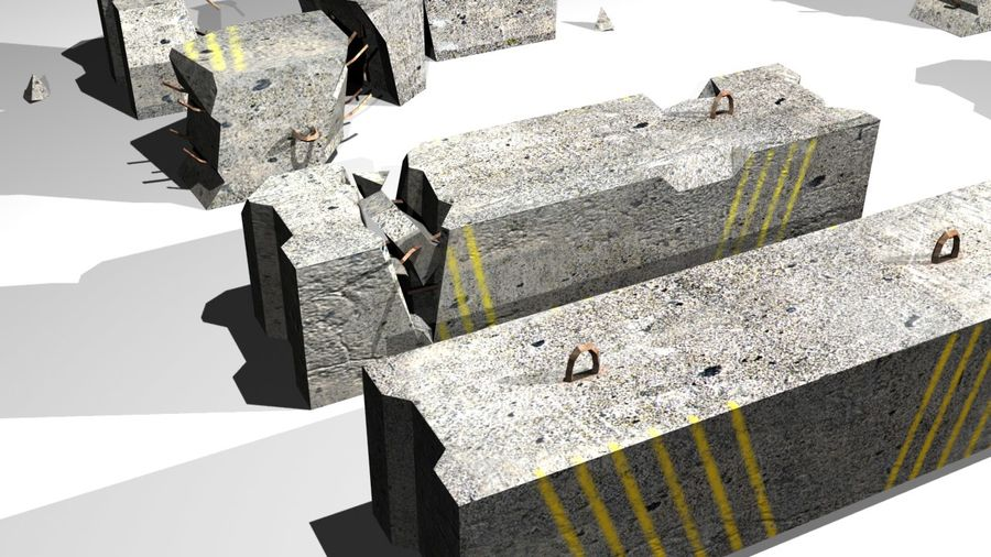 Concrete block royalty-free 3d model - Preview no. 8
