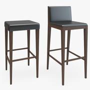Tamborete de madeira da cadeira da barra 3d model