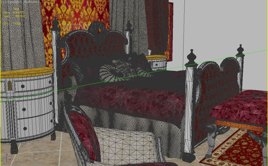 Luxury Bed Room Interior royalty-free 3d model - Preview no. 5