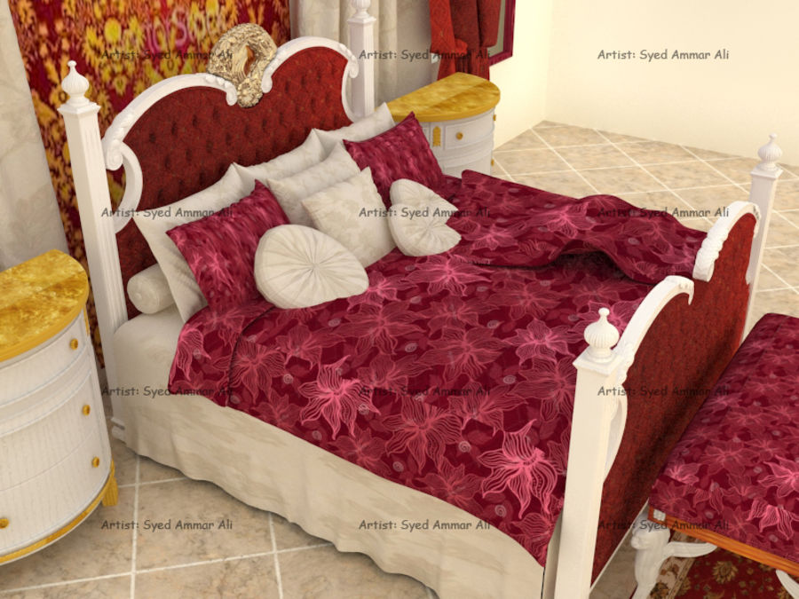 Luxury Bed Room Interior royalty-free 3d model - Preview no. 2