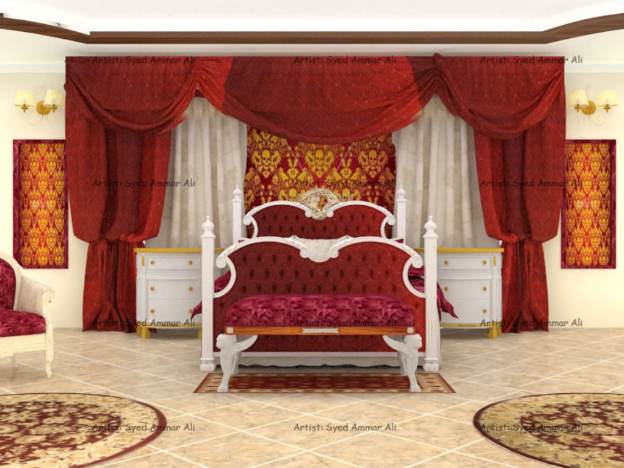 Luxury Bed Room Interior royalty-free 3d model - Preview no. 1