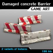Damaged concrete barrier 3d model
