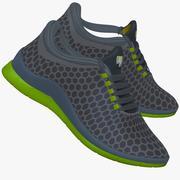 Spor ayakkabı yeşil ve gri 3d model