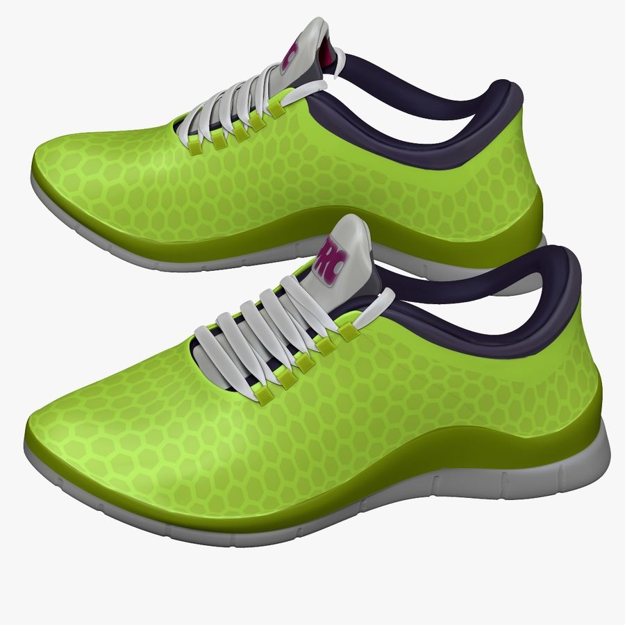 Spor ayakkabı kireç yeşil royalty-free 3d model - Preview no. 2