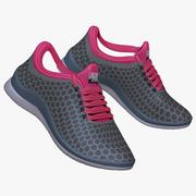Sneakers Pink and Gray 3d model