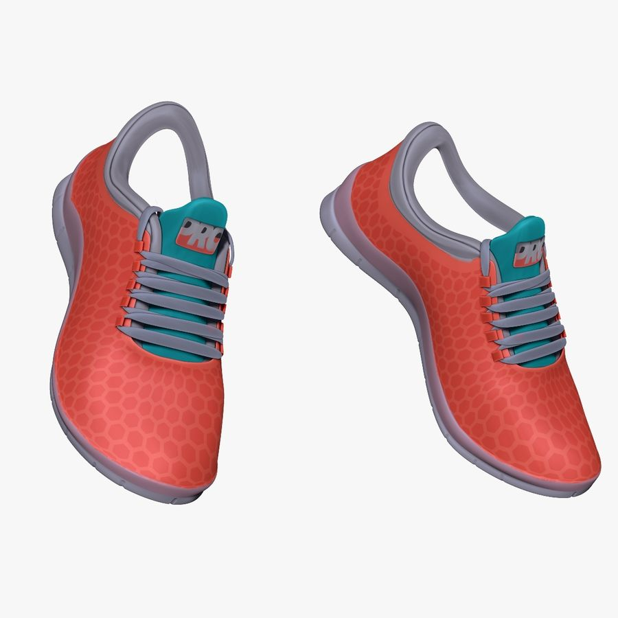 Turnschuhe Lachs und Blau royalty-free 3d model - Preview no. 6