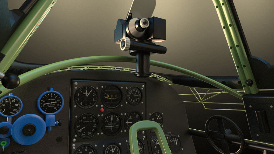Kokpit Jakowlew Jak-3 royalty-free 3d model - Preview no. 3