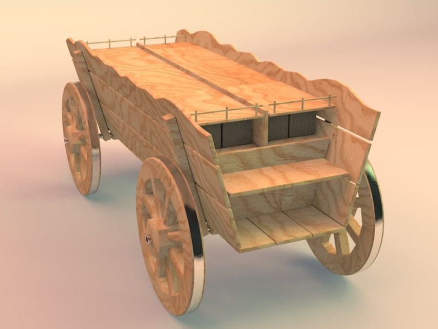 wagon royalty-free 3d model - Preview no. 2