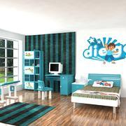 Habitación Realista Chico Interior modelo 3d