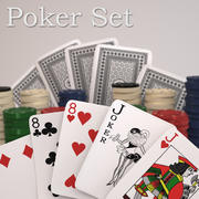 Playing Cards and Chips 3d model