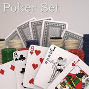 玩纸牌和筹码 3d model