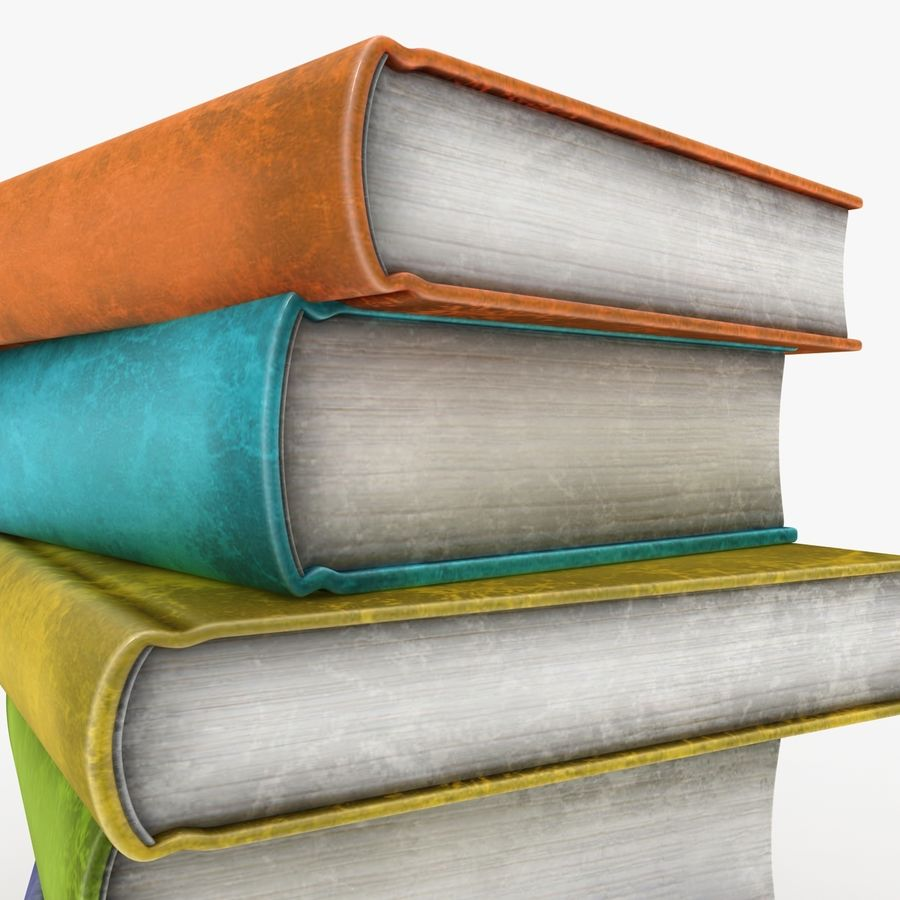 Colorful Books (Old) royalty-free 3d model - Preview no. 3